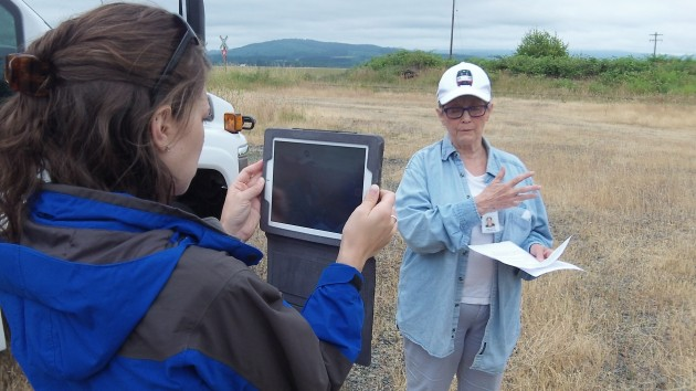 Benton County Commissioner Linda Modrell talks about the Bailey Line on a tour last week.