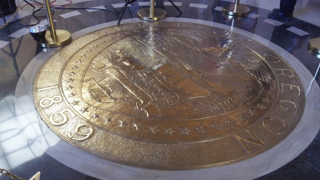 The Oregon seal at the Capitol: Start thinking of this year's ballot measures.