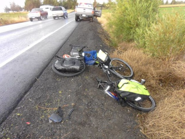 The Oregon State Police provided this photo of the aftermath of a crash in Crook County on Aug. 12. One of the riders was hit from behind.