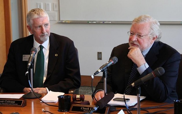 The U of O website published this photo of new interim president Scott Coltrane, left, and board chairman Chuck Lillis.