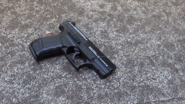 You have to get pretty close to be sure that this CO2-powered Walther is not a firearm. (A different style gun figured in the Albany incident.)