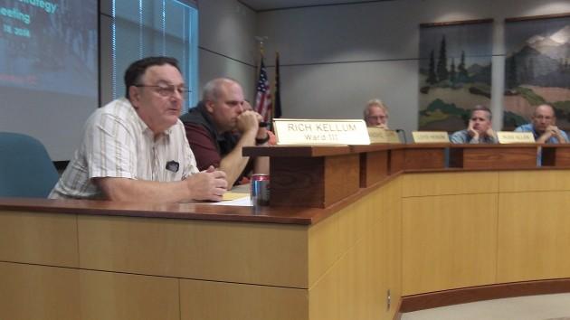 Councilor Rich Kellum asks a question during Thursday's CARA board meeting.