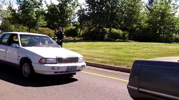 Another angle: An Albany bike cop on patrol recently, watching for seat belt violations near Santiam and Pacific.