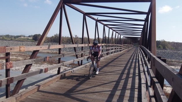 Crossing the river is easy on this bike-pedestrian span.