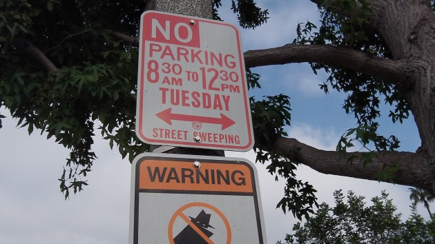 You had better not park here on Tuesday mornings.