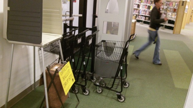 The ballot box at the Albany Public Library on Wednesday.