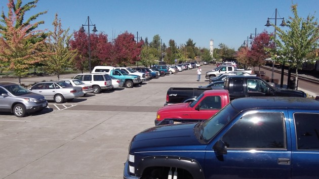 The parking lot at Albany Station was nearly completely full on Friday afternoon.