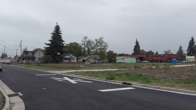 Where the first houses in Edgewater Village are to be built.