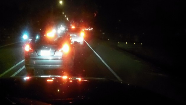 Saturday night on Highway 34: Nothing but brake lights,