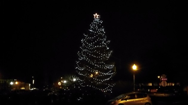 The Christmas tree at Two Rivers Market in downtown Albany on Friday night.