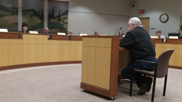 Jim Claussen talks to the council Wednesday.