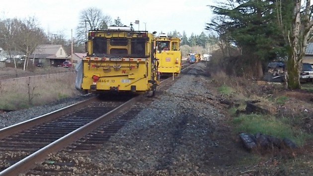 Maintenance equipment on the UP mainline east of the Burkhart Street crossing.