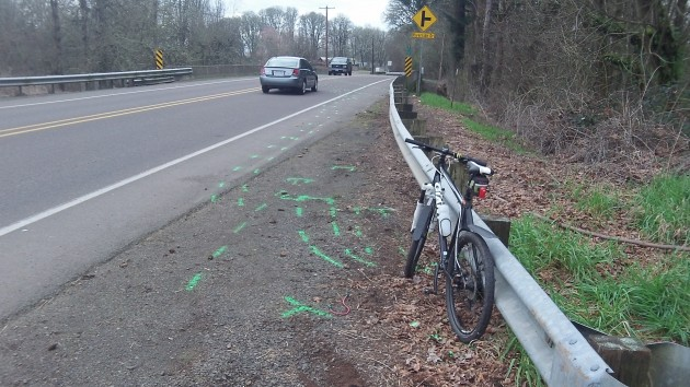 On Wednesday my bike is parked at the spot where fellow cyclists was killed Tuesday.