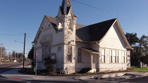The church at Santiam and Main was built in 1892.