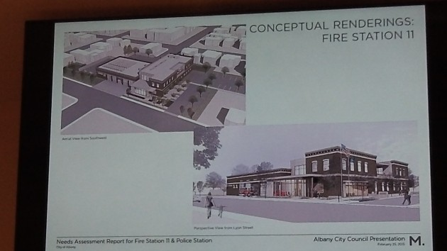 Two views of the fire station project, which would cover Sixth Avenue on Lyon Street.