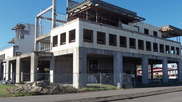 """How the """"one-of-a-kind, healthy building of he future"""" looked on Saturday."""