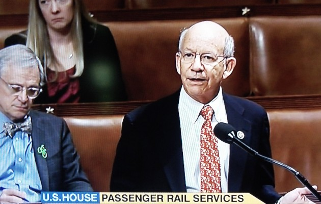 Rep. Earl Blumenaur of Portland waits to speak as Rep. Peter DeFazio of Springfield argues for continued Amtrak funding Wednesday, (C-Span image)