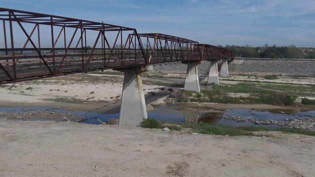 This bike and pedestrian bridge crosses the Santa Ana River.