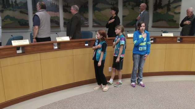 These Girl Scouts were in the council audience Wednesday, and Mayor Sharon Konopa invited them to lead everyone in the Pledge of Allegiance.