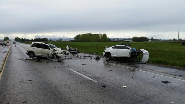 The Oregon State Police provided this view of the Friday crash scene on Highway 34.