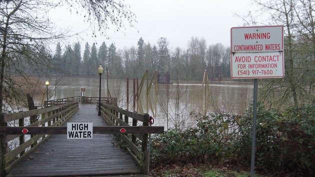 High water in the Willamette River last December with the usual warning about sewage overflow.