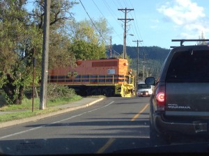Dave Hering got this shot of a CORP work train inching across Mountain Avenue in Ashland on April 9.
