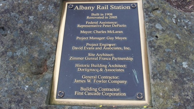 This marker at Albany Station reminds people of the big effort to rebuild the depot.
