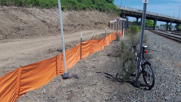 An apparent sediment fence where a path under Albany's Pacific viaduct is being built.