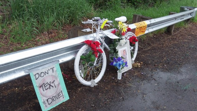 Roadside memorial for Grant Garner still looked fresh on April 3.