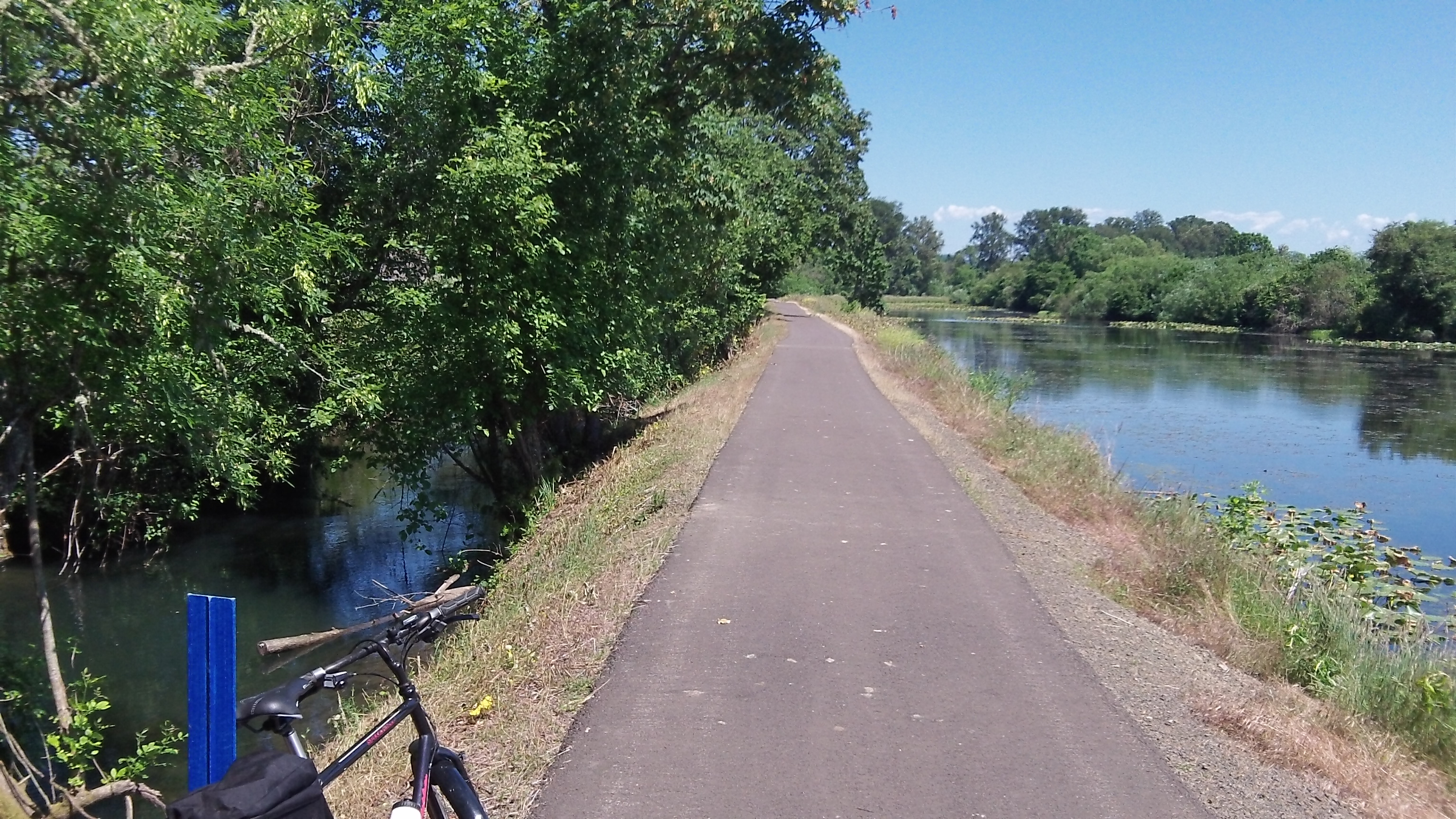 The Albany Santiam Canal on the left; Cheadle Lake on the right f the embankment and path.
