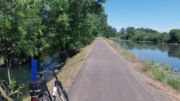 The Santiam Canal, left, runs past Cheadle Lake in Lebanon.