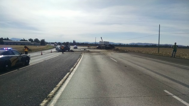 Wednesday's double fatal on 34 west of Tangent: Why a median barrier is needed. (OSP photo)
