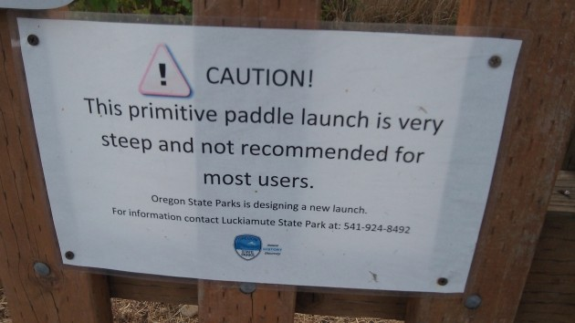 This was the sign at the Luckiamute paddlers' access that made a reader wonder.