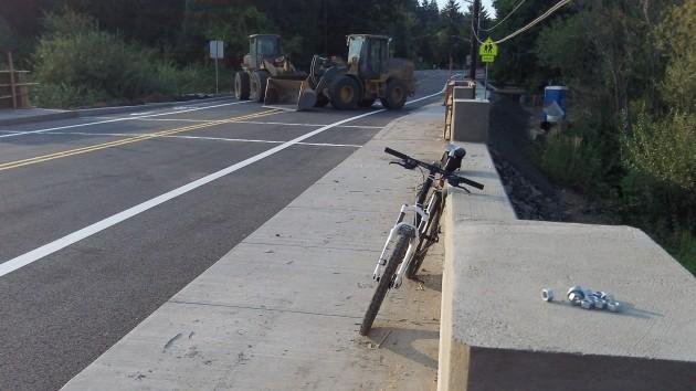 Looks like some nuts await completion of new bridge railings.