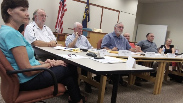 At Monday's work session, from left are Mayor Konopa and Councilors Collins, Olsen, Kopczynski, Coburn, Kellum and Johnson.
