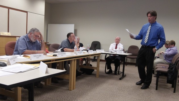 Sean Kidd explains marijuana law to the Albany council in August. He did so again Monday.