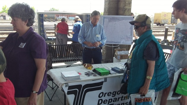 ODOT's Bob Melbo mans a table at a special event at Albany Station last May.
