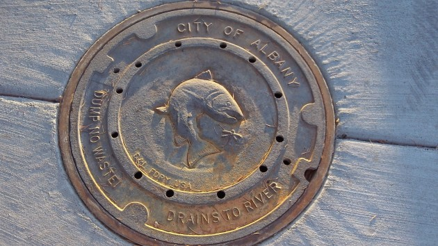 One of the newer ones among Albany's  2,200 stormwater manholes.