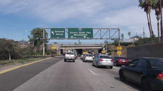 On I-5 in LA, not far from Vernon, where city workers outnumber permanent residents.