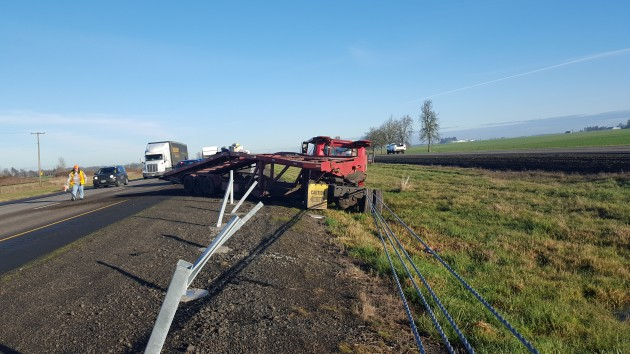 The Oregon State Police provided this shot of one of the crashes on I-5 Monday.