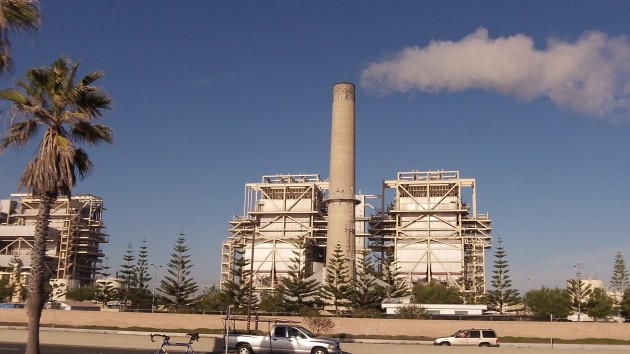 Steam comes from one of the stacks of the AES Generating Station Huntington Beach.