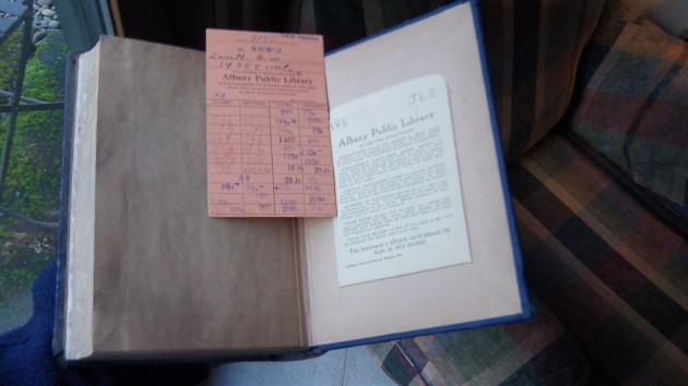 The railroad book and old D.W. Lovett's library card.