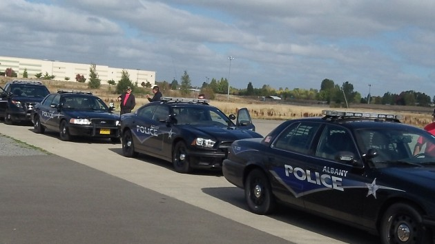 Albany patrol cars lined up for a Citizens' Academy demonstration last fall at the state's police training site in Salem.