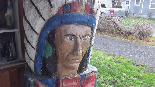 If this indigenous American is not worried about the presidential nominations, it's only because he's made of wood.