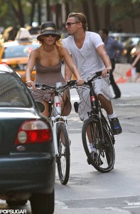 DiCaprio and a friend on bikes in New York in 2011.