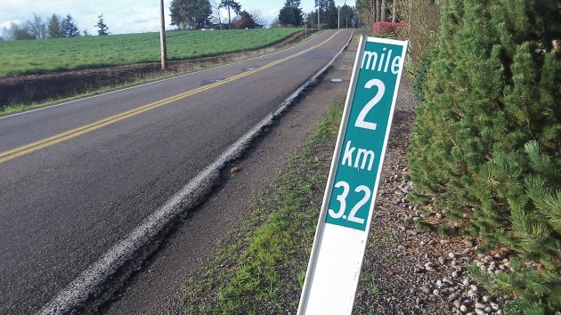 A handy reminder of how many kilometers there are in a mile.
