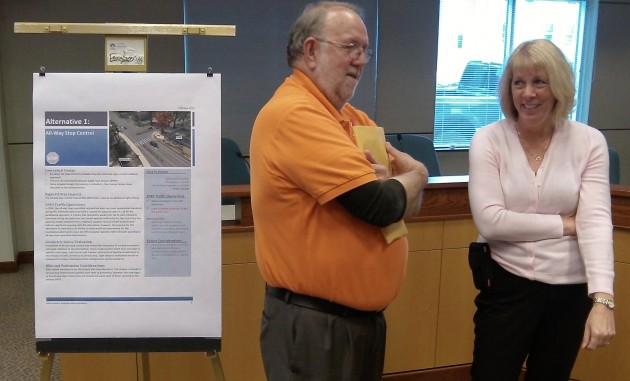 Albany Councilor Floyd Collins and Laurie Starha of Benton County Public Works at Tuesday's open house.