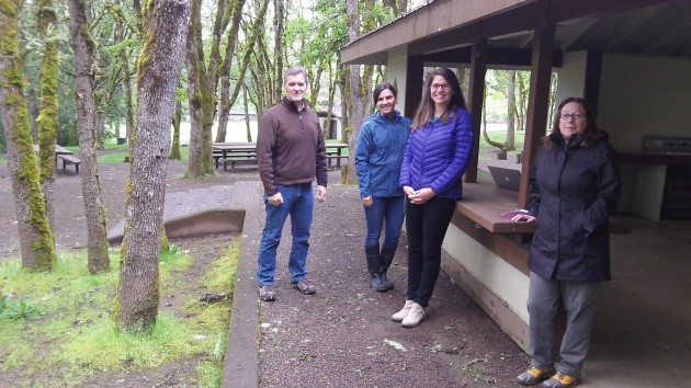 Parks Director Jeff Powers with Sara Hartstein, Rachael Davee and Lisa de Graaf at North Albany Park.