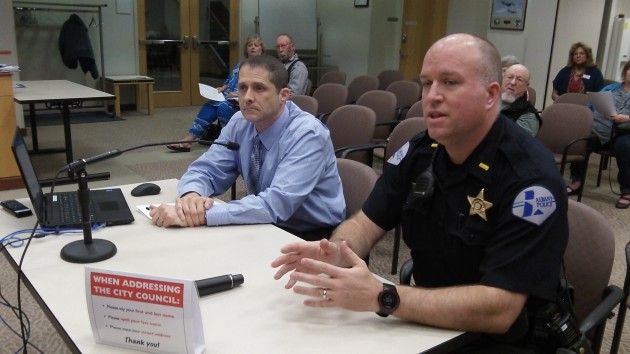 Police Chief Mario Lattanzio, left, and Lt. Alan Lynn talk to the council about traffic cameras Wednesday.