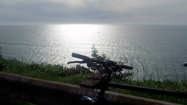 On the bike at Cape Perpetua: Aren't we green enough yet?